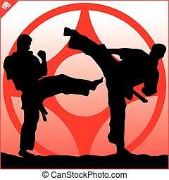 karate, taekwondo, escena, lucha