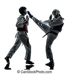 karate taekwondo martial arts man woman couple silhouette -...