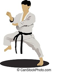 Karate. The sportsman in a position. Oriental combat sports....