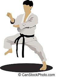 Karate. The sportsman in a position. Oriental combat sports....