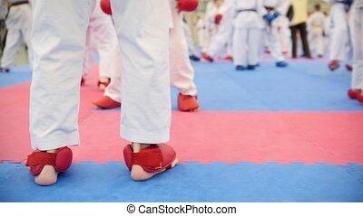 Karate training - group of karateka teenagers in red shoes...