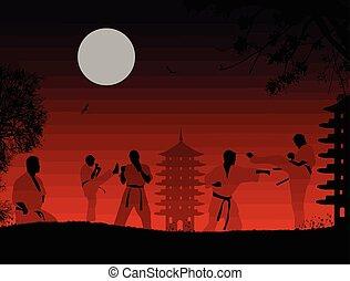 karate, tramonto, combattenti, silhouette