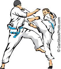 karate, unarmed, -, küzdelem, verekszik