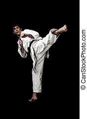 karate, vechter, jonge, hoog, achtergrond., zwarte man, contrast