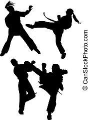 karate, vector, silueta