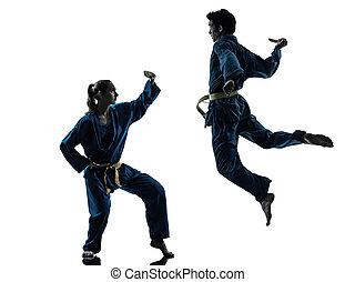 karate, vietvodao, jiu jitsu, mann- frau, paar, silhouette
