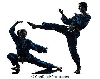 karate, vietvodao, martial arts, bemannen vrouw, paar,...