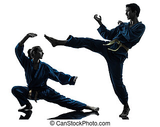 karate vietvodao martial arts man woman couple silhouette