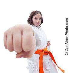 karate, vordergrund, m�dchen, faust, sie