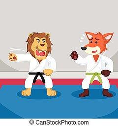 karate, vos, ontwerp, leren, illustratie
