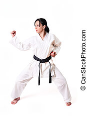 Karate woman in defence position