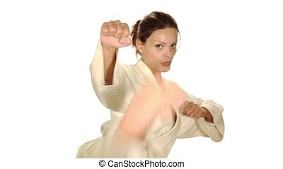 karate woman on a white background
