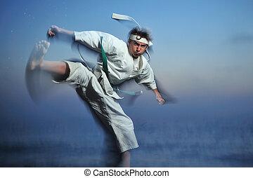 Karate - Young boy in martial art uniform doing karate,...