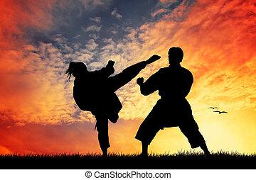 karate, zachód słońca