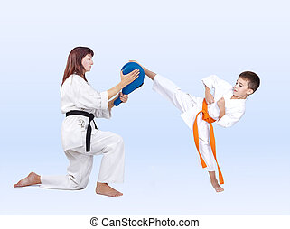 Karateka beats a kick on the Double Kick Pad