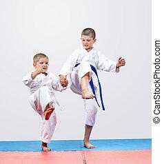 karateka, fiú, fivérek, vannak, szívverés, megrúg, láb, előmozdít