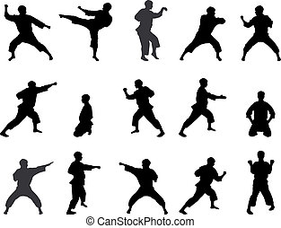 karateka., silhouettes, positions