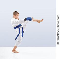 karateka, van, képzés, megrúg, láb, előmozdít