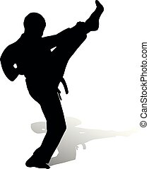 Karatist makes a kicking, silhouette on a white background,