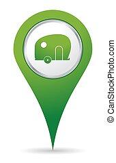 karavane, ikon, lokaliseringen
