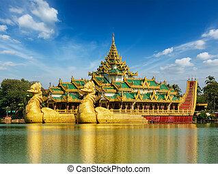 karaweik, kandawgyi, see, yangon, myanmar