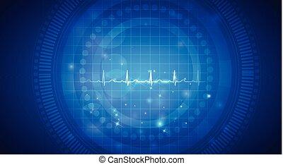 kardiogram, rendes, szív ritmus, képben látható, egy,...