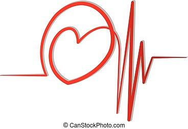 kardiogram, vektor, kärlek, röd, logo