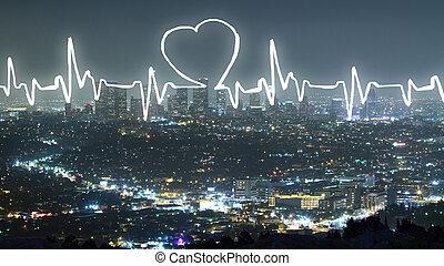 kardiogramm, auf, stadt, hintergrund