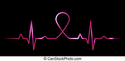 kardiogramm, mit, brustkrebs, symbo