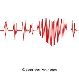 kardiogramm, puls spur