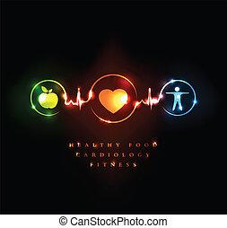 kardiologi, och, wellness