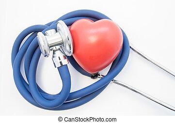 kardiologie, nitro, heart., systém, figura, hadice, pojem, překroucený, spirála, chestpiece, nemoc, zobrazení, lidský, ono, stetoskop, cardiovascular, diagnostický, naslouchat