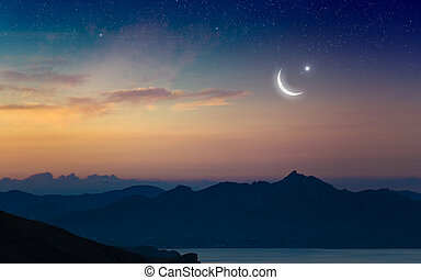 kareem, 背景, ramadan, 星, 三日月