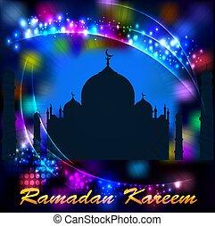 kareem, iglesia, postal, ramadan, ilustración, mahal, plano ...