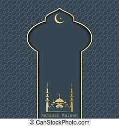 kareem, ramadan, cartão, saudação
