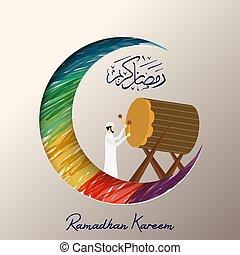 kareem, ramadhan, hombre, bedug, musulmán, juego