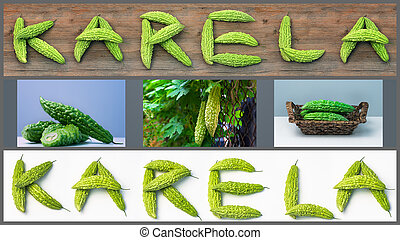 Karela bitter melon caraili composition with text...