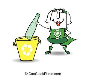karen, リサイクル, びん, プラスチック