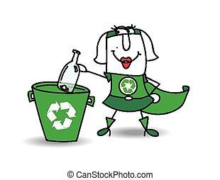 karen, botella, recyling