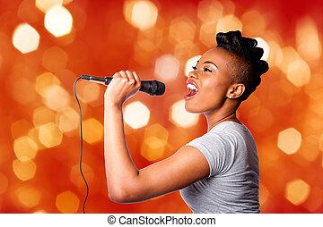 kareoke, microfone, mulher, cantando