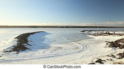 Kargarde landing place at Lake Storsjoen, Sweden, in winter