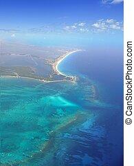 karib-tenger, kék, türkiz, víz, alatt, cancun