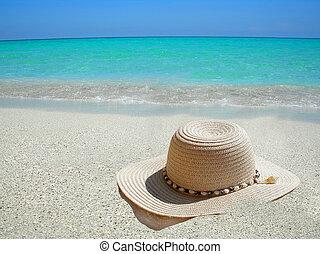karibisch, hut, sandstrand