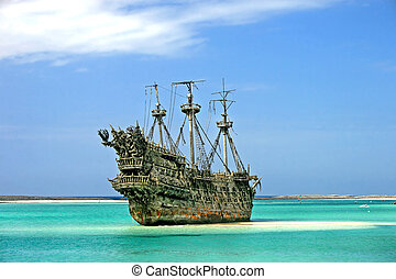 karibisch, pirat, schiff