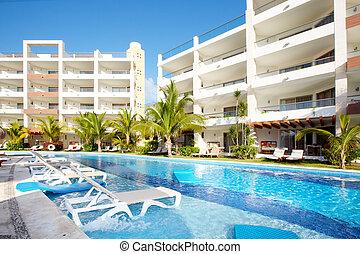 karibisch, resort., teich, schwimmender