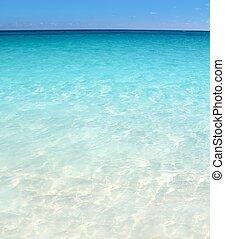 karibisch, türkisfarbene see, sandstrand, ufer, weißer sand