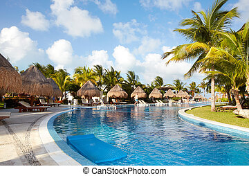 karibisk, resort., slå samman, simning
