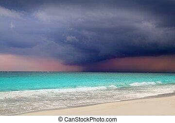 karibisk, storm, orkan, tropisk, hav, begyndelse