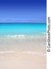 karibisk, turkos sjögång, strand, kust, vita sandpappra