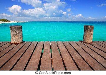 karibisk, ved, pir, med, turkos, aqua, hav